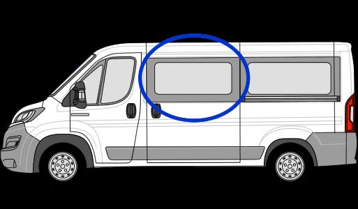 Peugeot Boxer N/S/F Sliding Window in Privacy Tint (MWB/LWB/Extra LWB)
