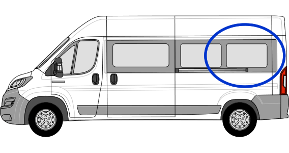 Fiat Ducato N/S/R Fixed Window in Privacy Tint (Extra LWB)