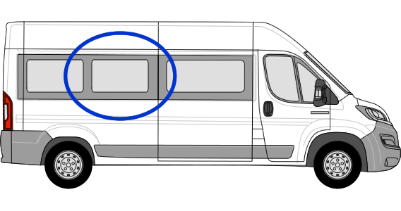 Citroen Relay O/S/M Fixed Window in Privacy Tint (Extra LWB)