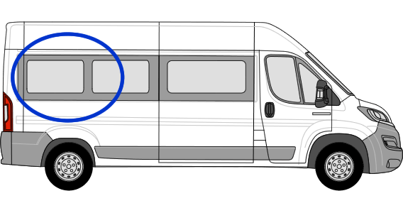 Citroen Relay O/S/R Fixed Window in Privacy Tint (Extra LWB)