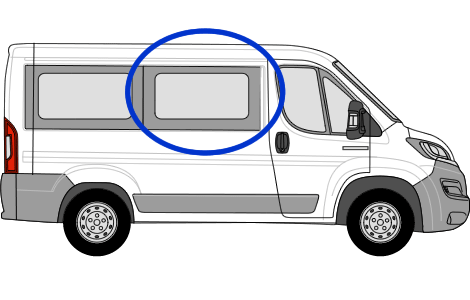 Fiat Ducato O/S/F sliding Window in Privacy Tint (SWB)