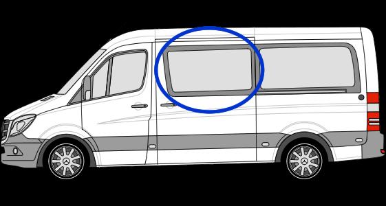 Mercedes Sprinter N/S/F Fixed Window in Privacy Tint MWB/LWB