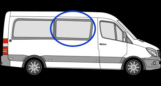 Mercedes Sprinter O/S/F Fixed Window in Privacy Tint MWB/LWB