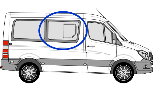 Mercedes Sprinter O/S/F Sliding Window in Privacy Tint SWB