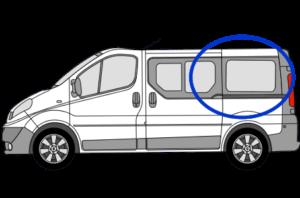 Vauxhall Vivaro N/S/R (Rear) Fixed Window in Privacy Tint SWB