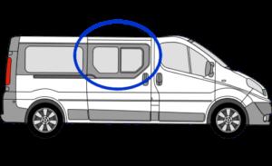 Vauxhall Vivaro O/S/F Opening Window in Privacy Tint FOR SLIDING DOOR