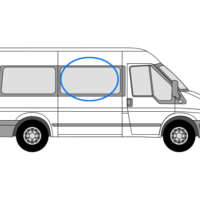 Ford Transit O/S/F Opening Window in Privacy Tint (MWB)