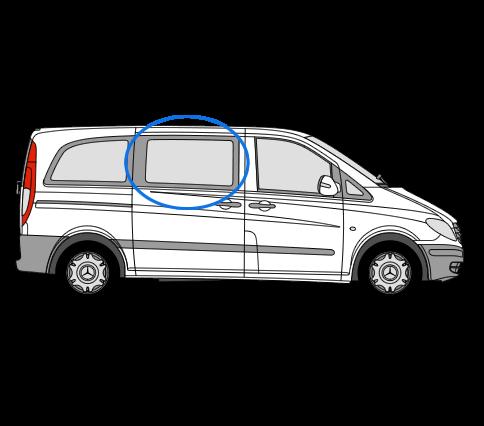 Mercedes Vito O/S/F Fixed Window in Privacy Tint 1