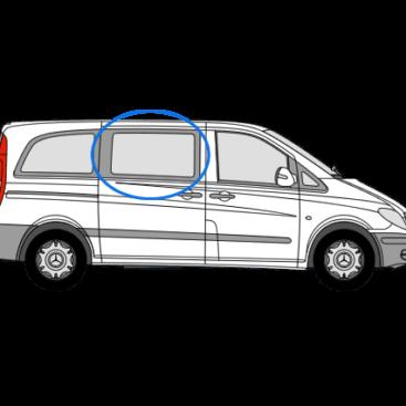 Mercedes Vito 2014> O/S/F Sliding Window in Privacy Tint