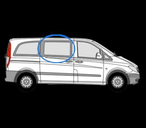 Mercedes Vito 2014> O/S/F Fixed Window in Privacy Tint
